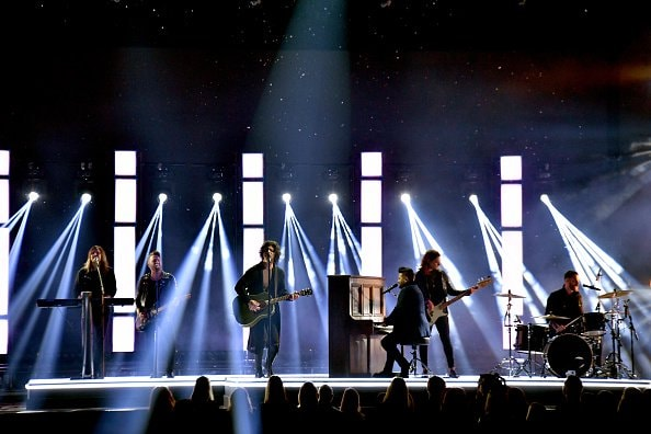 Dan Smyers and Shay Mooney of Dan + Shay perform onstage during the 52nd annual CMA Awards at the Bridgestone Arena on November 14, 2018 in Nashville, Tennessee.  (Photo by Michael Loccisano/Getty Images)