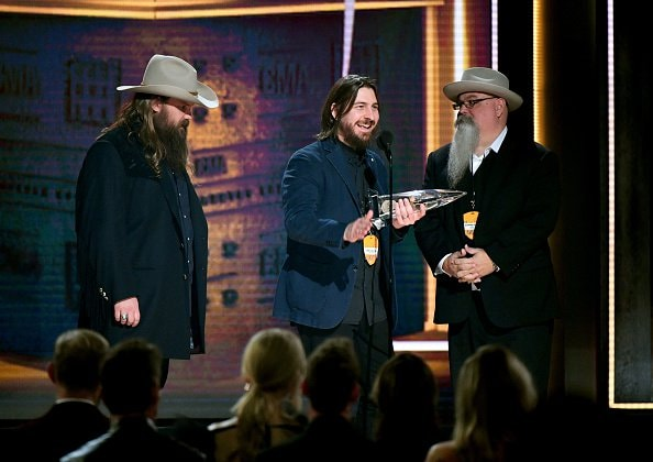 Chris Stapleton, Dave Cobb, and Vance Powell accept the Single of the Year Award onstage during the 52nd annual CMA Awards at the Bridgestone Arena on November 14, 2018 in Nashville, Tennessee.  (Photo by Michael Loccisano/Getty Images)