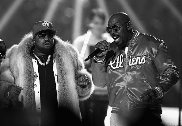ATLANTA, GA - FEBRUARY 03:  (EDITORS NOTE: Image has been converted to Black and White.) Big Boi (L) and Sleepy Brown perform during the Pepsi Super Bowl LIII Halftime Show at Mercedes-Benz Stadium on February 3, 2019 in Atlanta, Georgia.  (Photo by Kevin Winter/Getty Images)