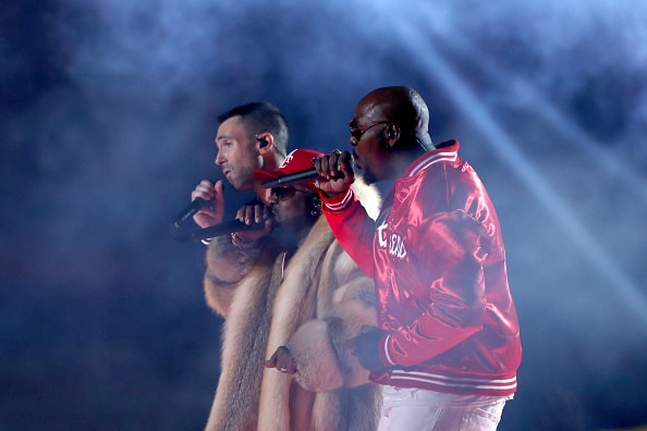 ATLANTA, GA - FEBRUARY 03: Adam Levine and Big Boi perform during the Pepsi Super Bowl LIII Halftime Show at Mercedes-Benz Stadium on February 3, 2019 in Atlanta, Georgia.  (Photo by Jamie Squire/Getty Images)