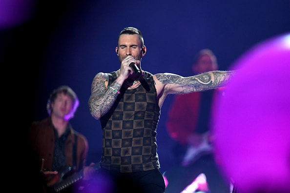 ATLANTA, GA - FEBRUARY 03:  Adam Levine of Maroon 5 performs during the Pepsi Super Bowl LIII Halftime Show at Mercedes-Benz Stadium on February 3, 2019 in Atlanta, Georgia.  (Photo by Kevin Winter/Getty Images)
