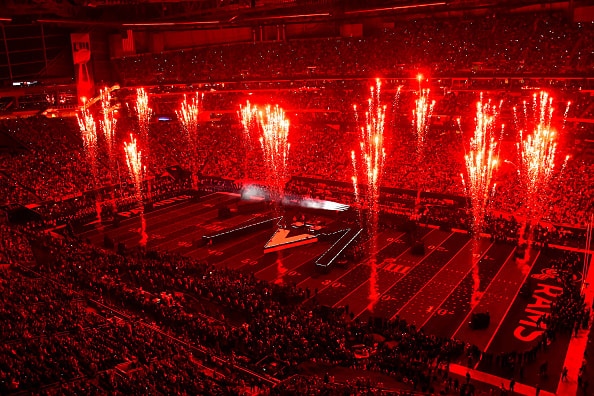 ATLANTA, GEORGIA - FEBRUARY 03:  A general view of Maroon 5 onstage during Pepsi Super Bowl LIII Halftime Show at Mercedes-Benz Stadium on February 03, 2019 in Atlanta, Georgia. (Photo by Scott Cunningham/Getty Images)