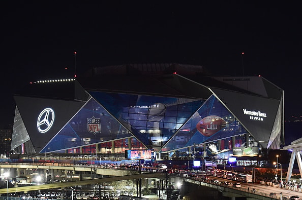 ATLANTA, GEORGIA - FEBRUARY 03:  Overall of Mercedes-Benz stadium during halftime of Super Bowl LIII between the New England Patriots and Los Angeles Rams on February 03, 2019 in Atlanta, Georgia. (Photo by Logan Riely/Getty Images)