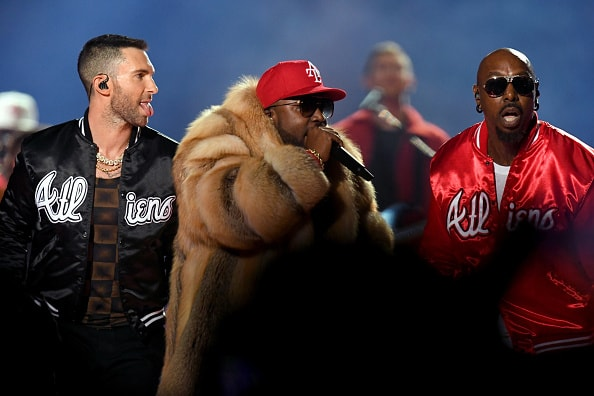 ATLANTA, GA - FEBRUARY 03:  (L-R) Adam Levine of Maroon 5, Big Boi, and Sleepy Brown perform during the Pepsi Super Bowl LIII Halftime Show at Mercedes-Benz Stadium on February 3, 2019 in Atlanta, Georgia.  (Photo by Kevin Winter/Getty Images)