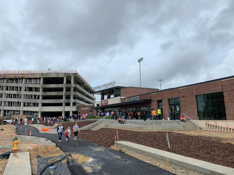 Hurley Plaza from the Ray Ave side at the front of Segra Stadium. The plaza will be completed later this year and serve as the gateway into the stadium entrance.