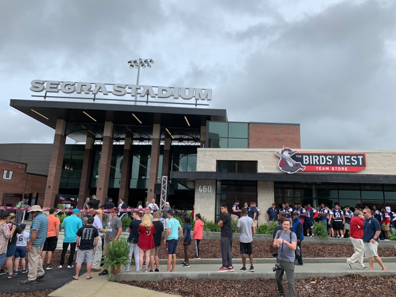 The primary fan entrance to Segra Stadium, home of the Fayetteville Woodpeckers.