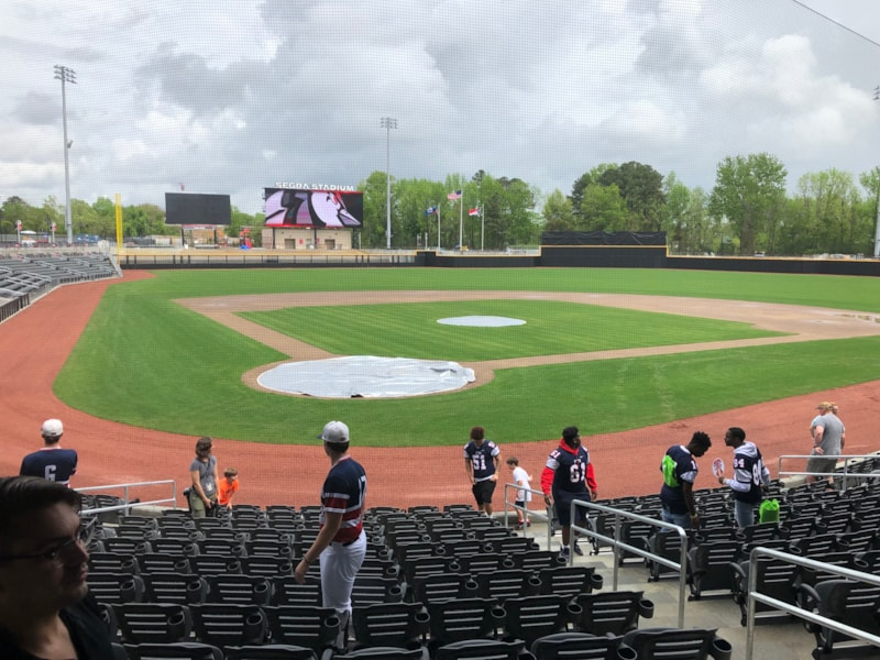 Looking out to left field and the video scoreboard for the Fayetteville Woodpeckers.