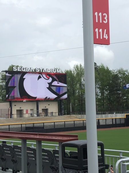 The giant woodpecker overlooks Segra Stadium during the Fans First event for the Fayetteville Woodpeckers new home.