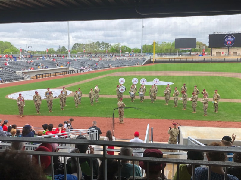 The 82nd All American Band played to help celebrate the ribbon cutting for Segra Stadium.