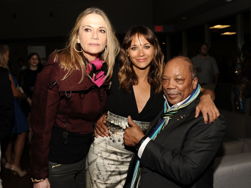 LOS ANGELES, CA - JUNE 21:  L-R) Peggy Lipton, actress Rashida Jones and musician/producer Quincy Jones attend the after party for 'Celeste And Jesse Forever' at the 2012 Los Angeles Film Festival held at Luxe Hotel on June 21, 2012 in Los Angeles, California.  (Photo by Angela Weiss/Getty Images)