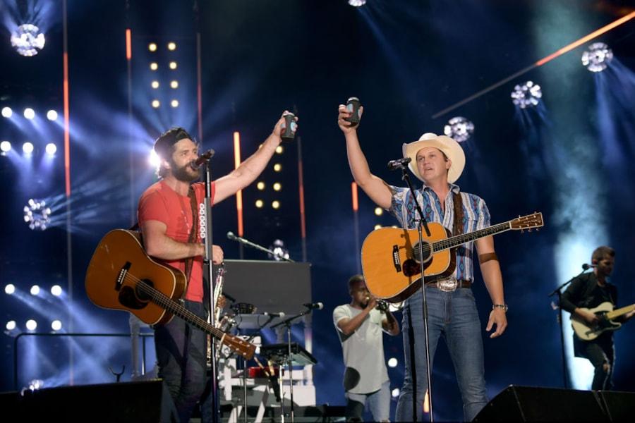 "Thomas Rhett is joined on stage by new ""Beer"" duet partner Jon Pardi."