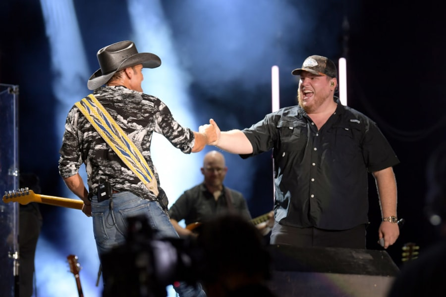 Luke Combs joins Tim McGraw on stage for a duet during Tim's crazy set.